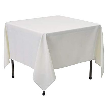 "85""x85"" Square Polyester Tablecloths- Ivory"