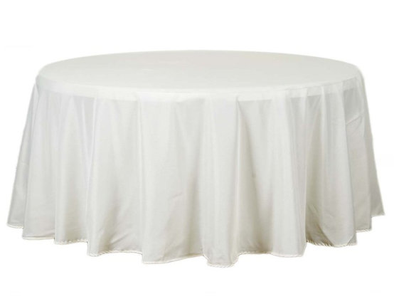 """120"""" Round Polyester Table Cloths- Ivory"""