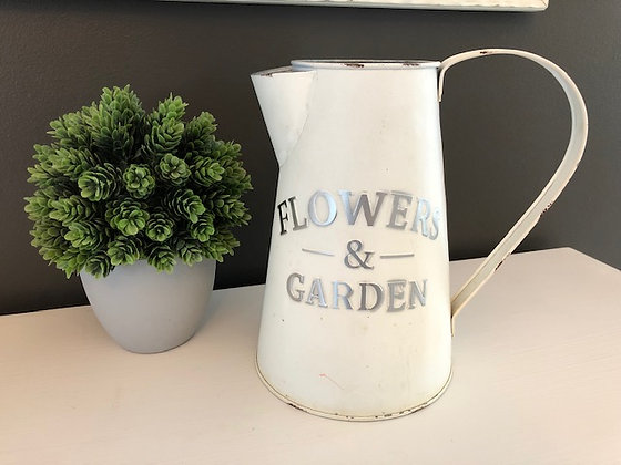 Antiqued Tin Flower Vase