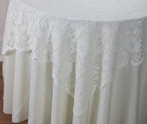 "72"" Square Lace Table Overlays- Ivory"
