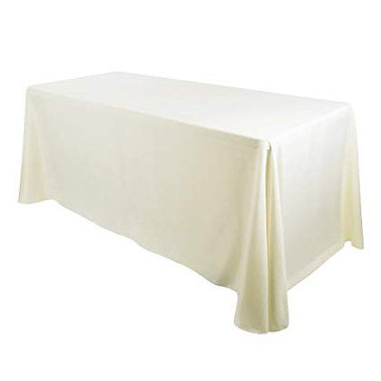 """90""""x132"""" Polyester Banquet Table Cloths- Ivory"""