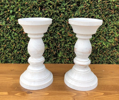 Antiqued White Pillar Candle Holders