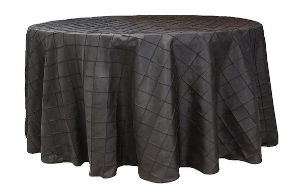 """120"""" Round Pintuck Tablecloth- Charcoal Grey"""