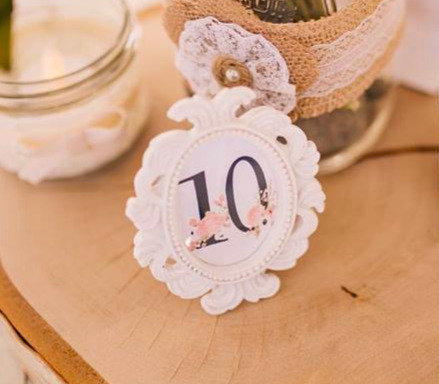 Antiqued Photo Frame Table Numbers