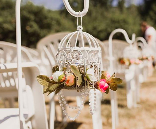 Mini Hanging Birdcages with Flowers