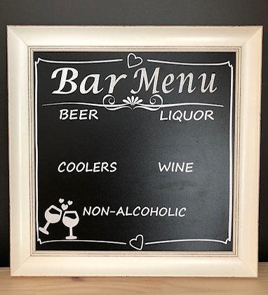 Bar Menu Chalkboard Sign