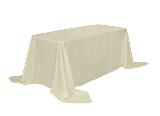 "90""x132"" Polyester Banquet Table Cloth-Beige"