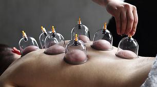 Cup massage close up. Banks for massage