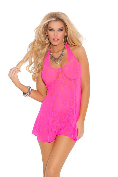 Lace halter mini dress