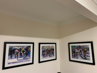 My paintings framed, in their new home!