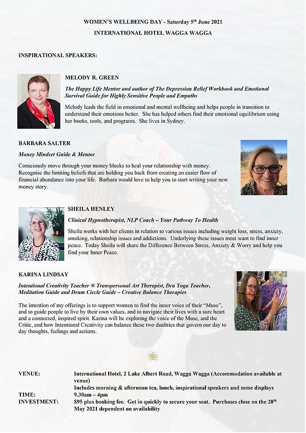 Women's Wellbeing Day 2021 - Speakers -