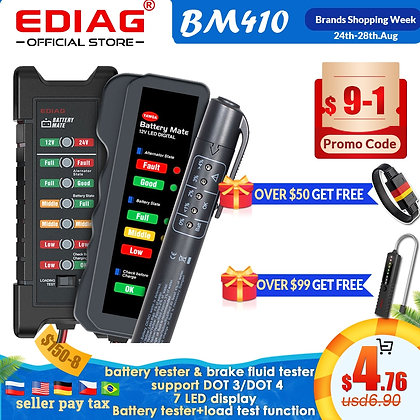 2020 EDIAG BM310 BM410 Car Battery Tester &Brake Fluid Tester 12V 24V