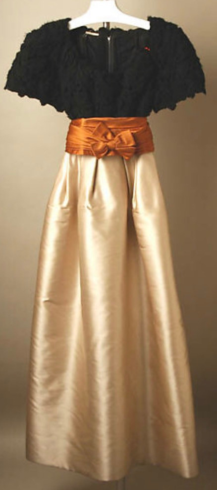 Ricci dress designed by Crahay, 1950's, 1959 1960 made in cotton, silk, wool