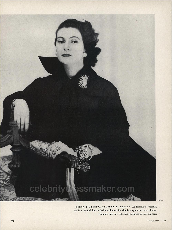 Donna Simonetta Colonna Di Cesaro, Vogue, May 15, 1951