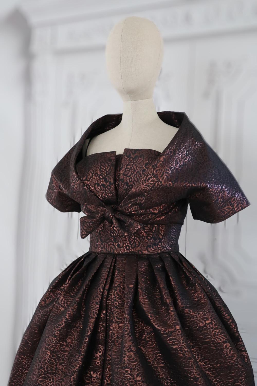 Finished Simonetta Vogue Pattern #101, c. 1958, pleated skirt and tied bolero