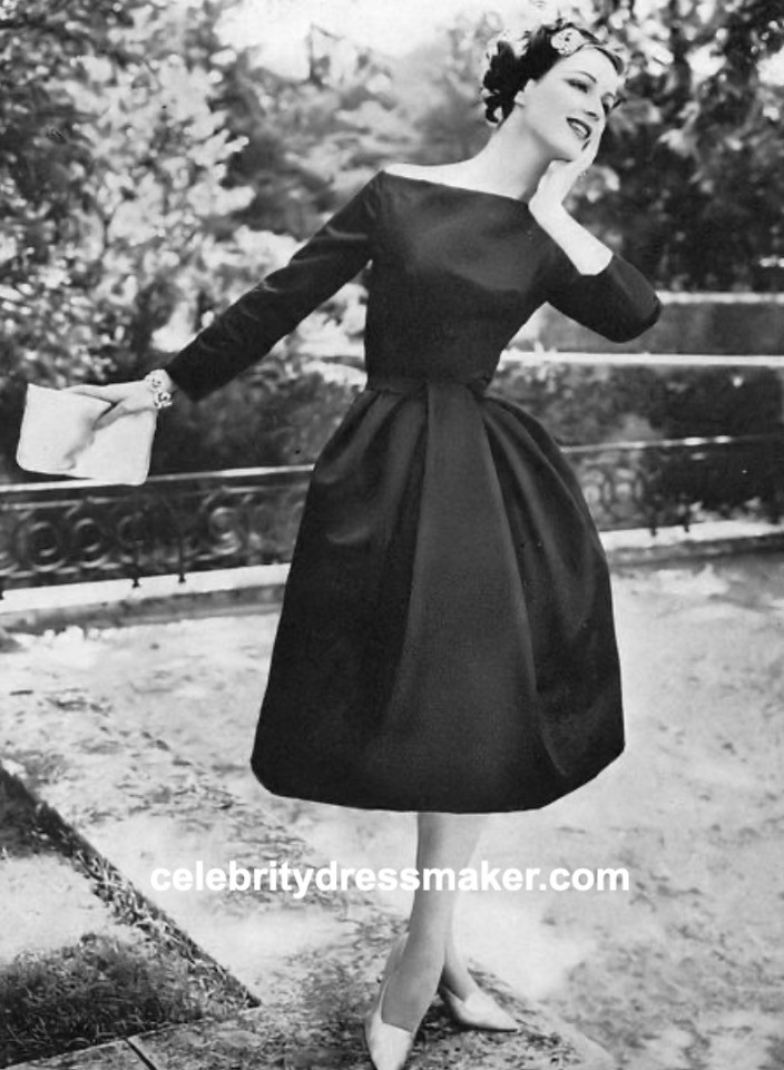 """""""Paris Night Looks, """" Vogue, Nov. 15, 1957, Nina Ricci: Vogue Pattern 1388"""