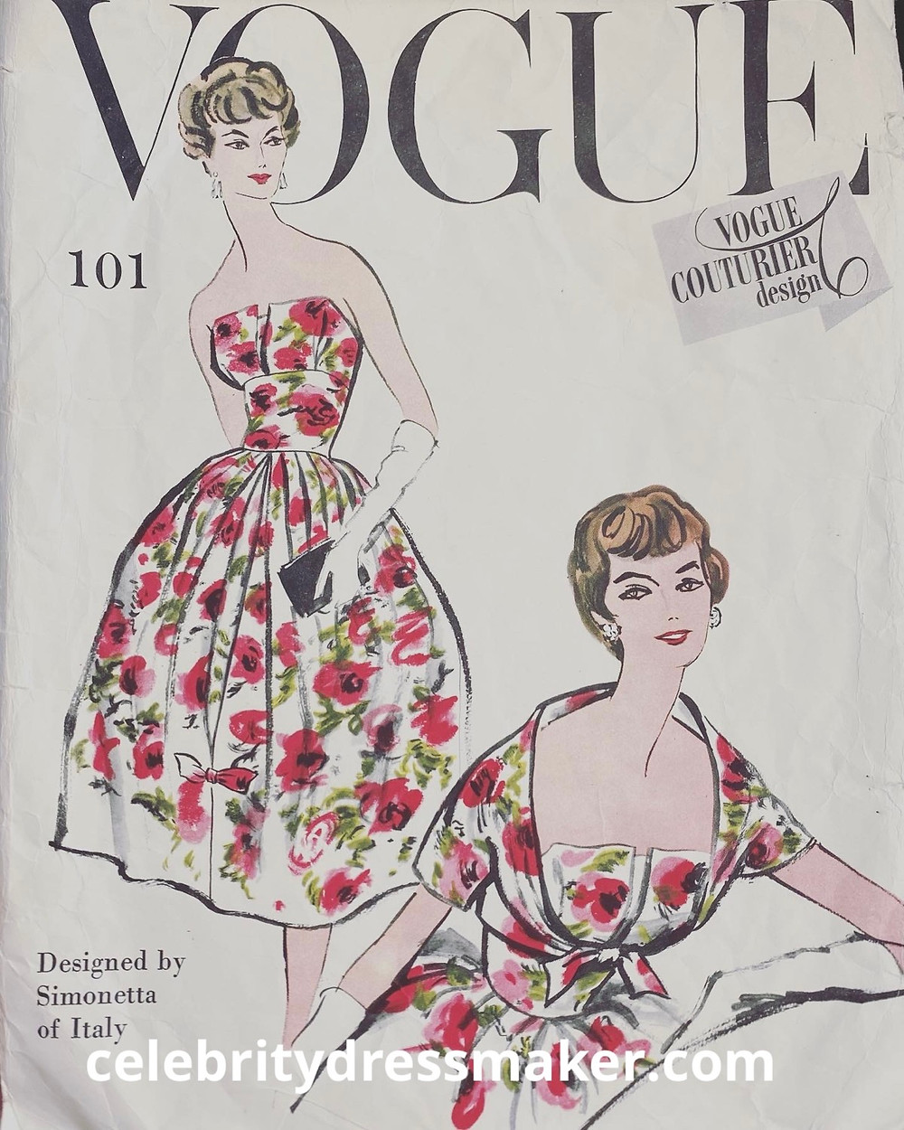 Vogue Couturier Design 101; ©1958. Simonetta of Italy - One piece dress and bolero. All around pleated skirt has a deep inverted pleat at centre front, released above the hem. Released upper bodice front section. Optional shoulder straps. Brief bolero fastens with tied dog ears. Short kimono sleeves.