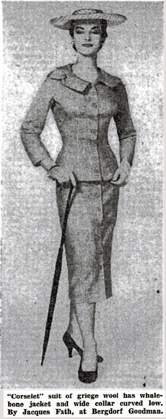 Whalebone Jacket Corselet Suit by Jacques Fath, NYT, March 10, 1954