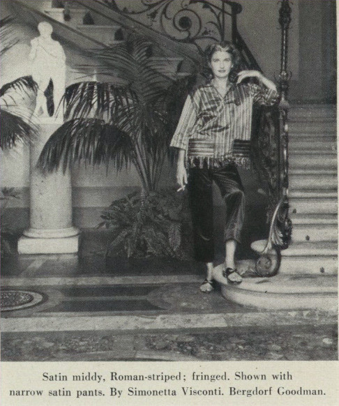 Simonetta's design shown at the first Florentine Fashion Show at the Grand Hotel in 1951, Vogue, Sept 1, 1951