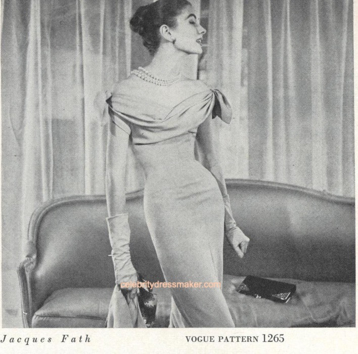 Suzy Parker wearing Jacques Fath, Vogue Pattern #1265, Vogue Magazine, May 15, 1954, Henry Clarke