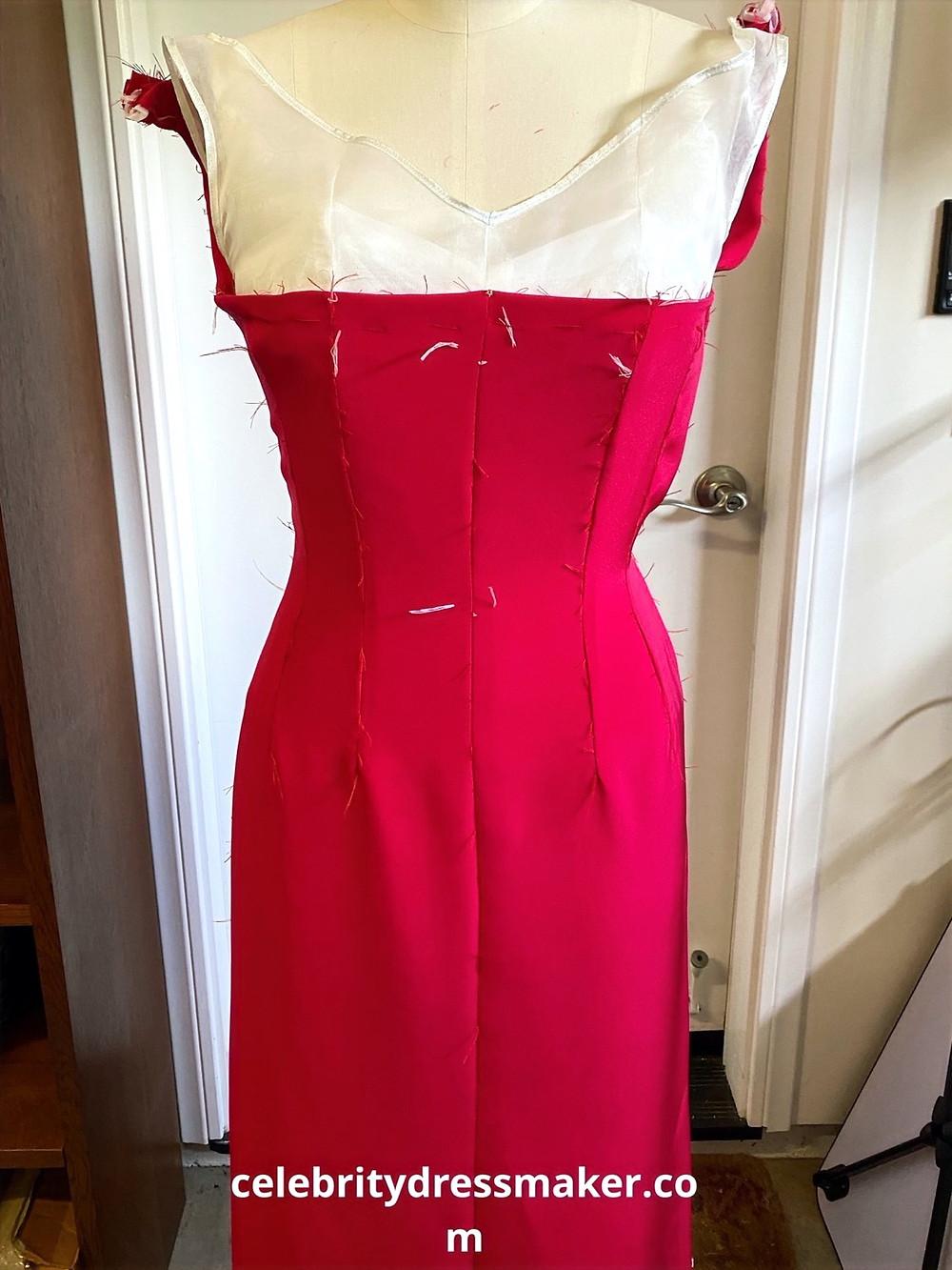 Silk crepe fabric from NY Fashion Fabrics, in Crimson red