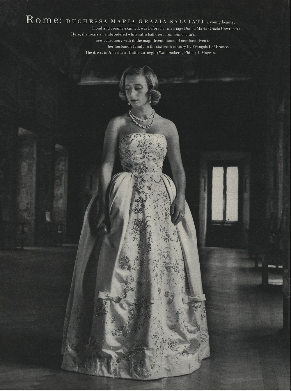 Duchessa Maria Grazia Salviati wearing Simonetta, Vogue, Nov. 1. 1957