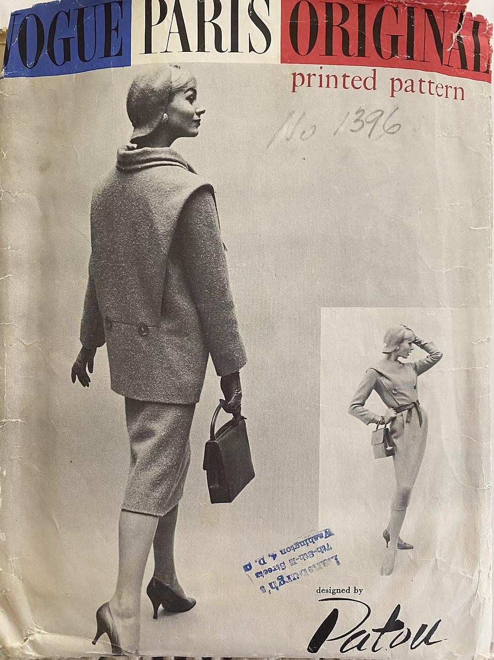 Patou Sewing Pattern Vogue Paris Original #1396 by Marc Bohan, circa 1957