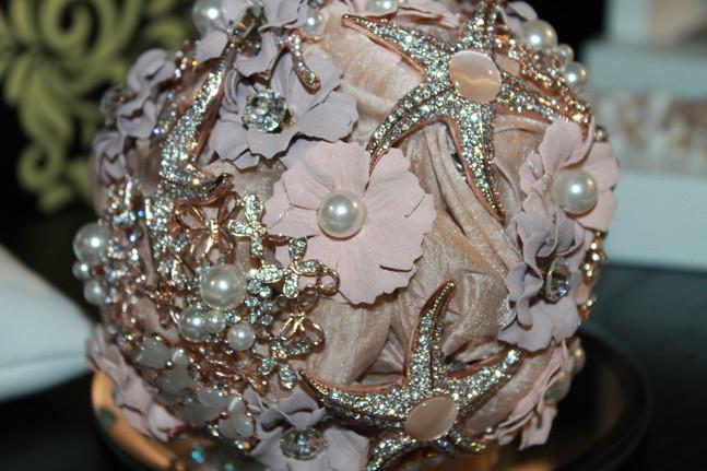 Bouquet de banho de prata rosa