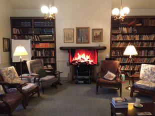 Our cozy fireside in the Library
