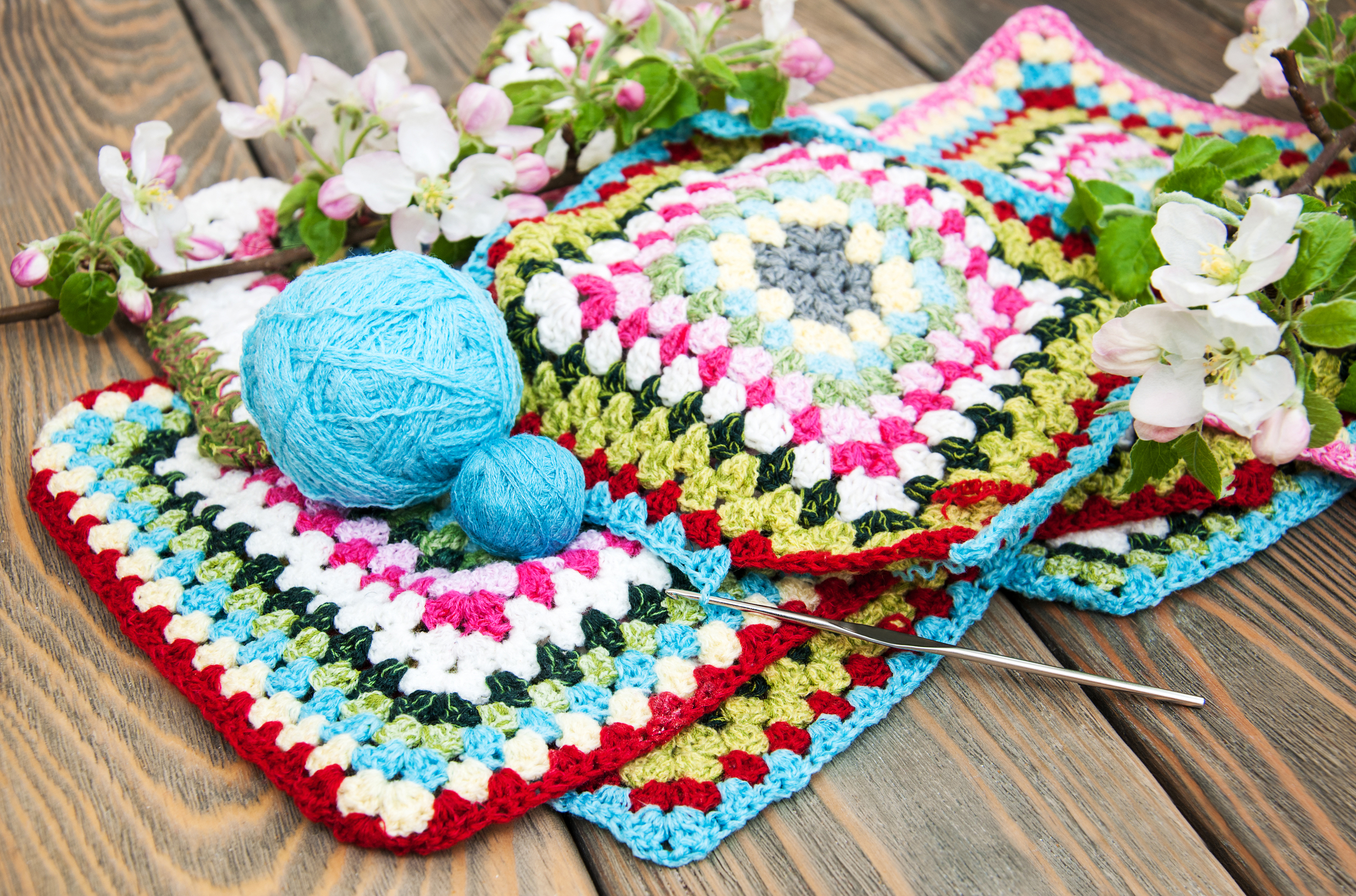 Multicolored Plaid Squares Of Crocheted.jpg