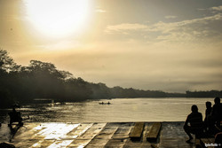 Amazon ferry sunset, A2A Expedition