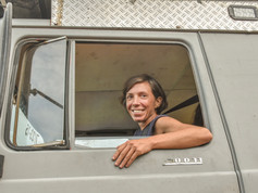 Pia driving her rig, Nigeria