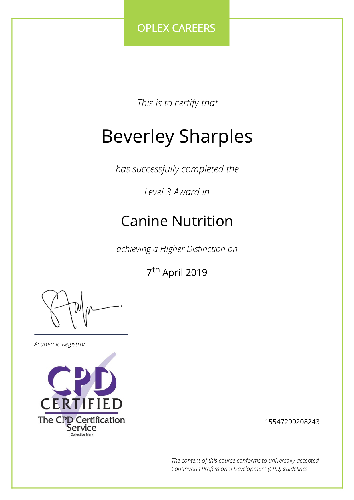 Canine Nutrition Level 3