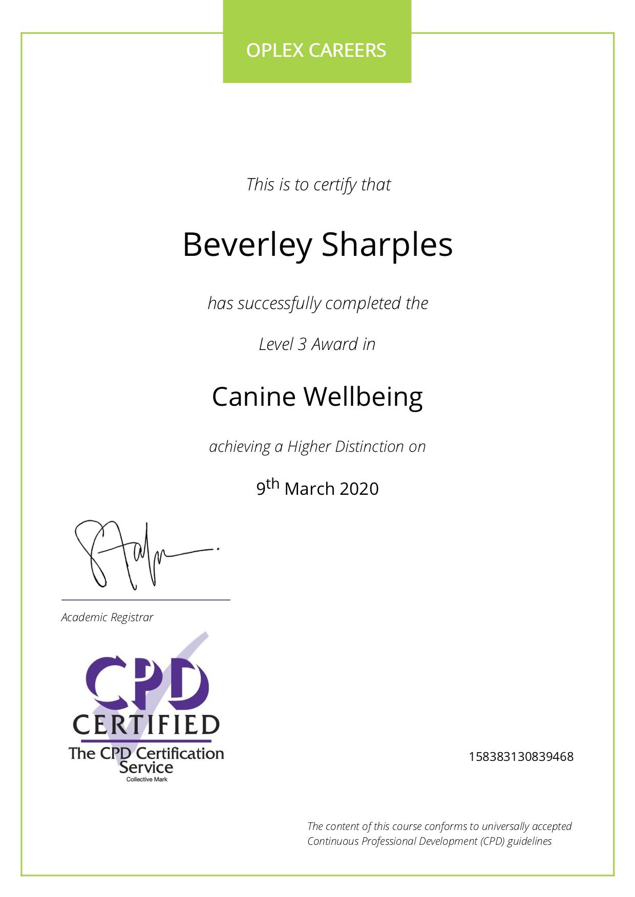Bev canine welfare certificate