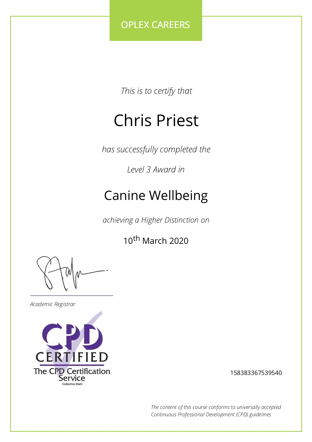 Chris certificate