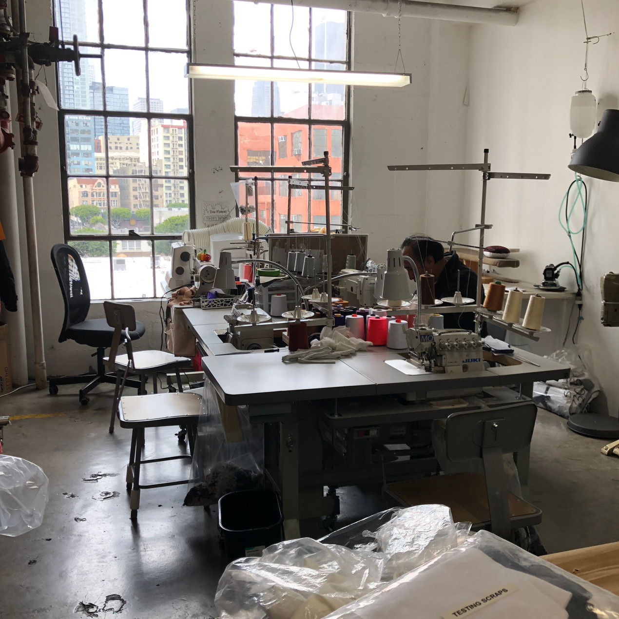 Sample sewing at a manufacturer