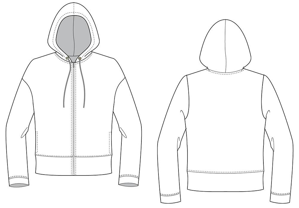 Illustrator hoodie flat sketch