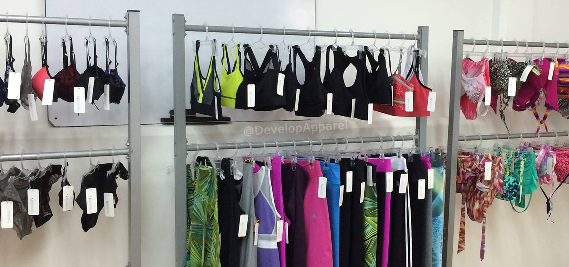 Sample rack of swim and activewear
