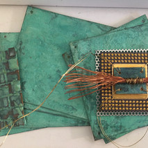 Patina on copper, salvaged microchip, electrical wire, parts
