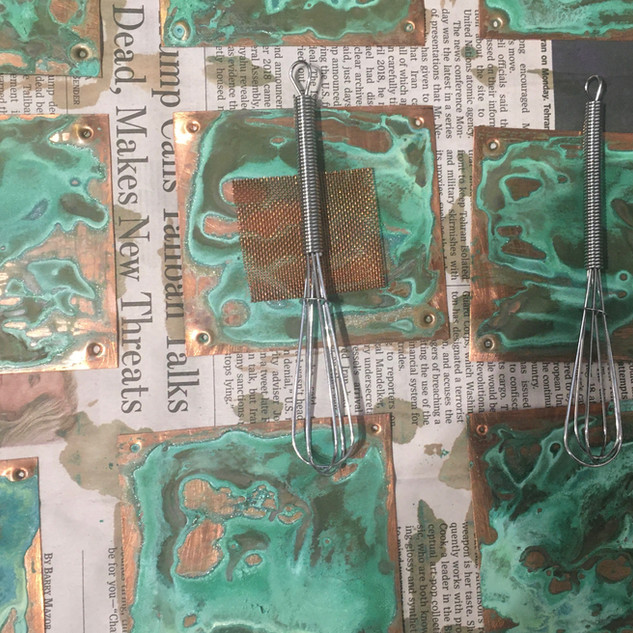 Patina on Copper in Progress