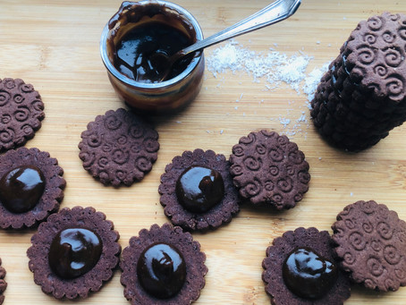 Sablé chocolat sans oeuf au caramel de coco salé