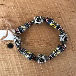 Painted Glass Bead Bracelet