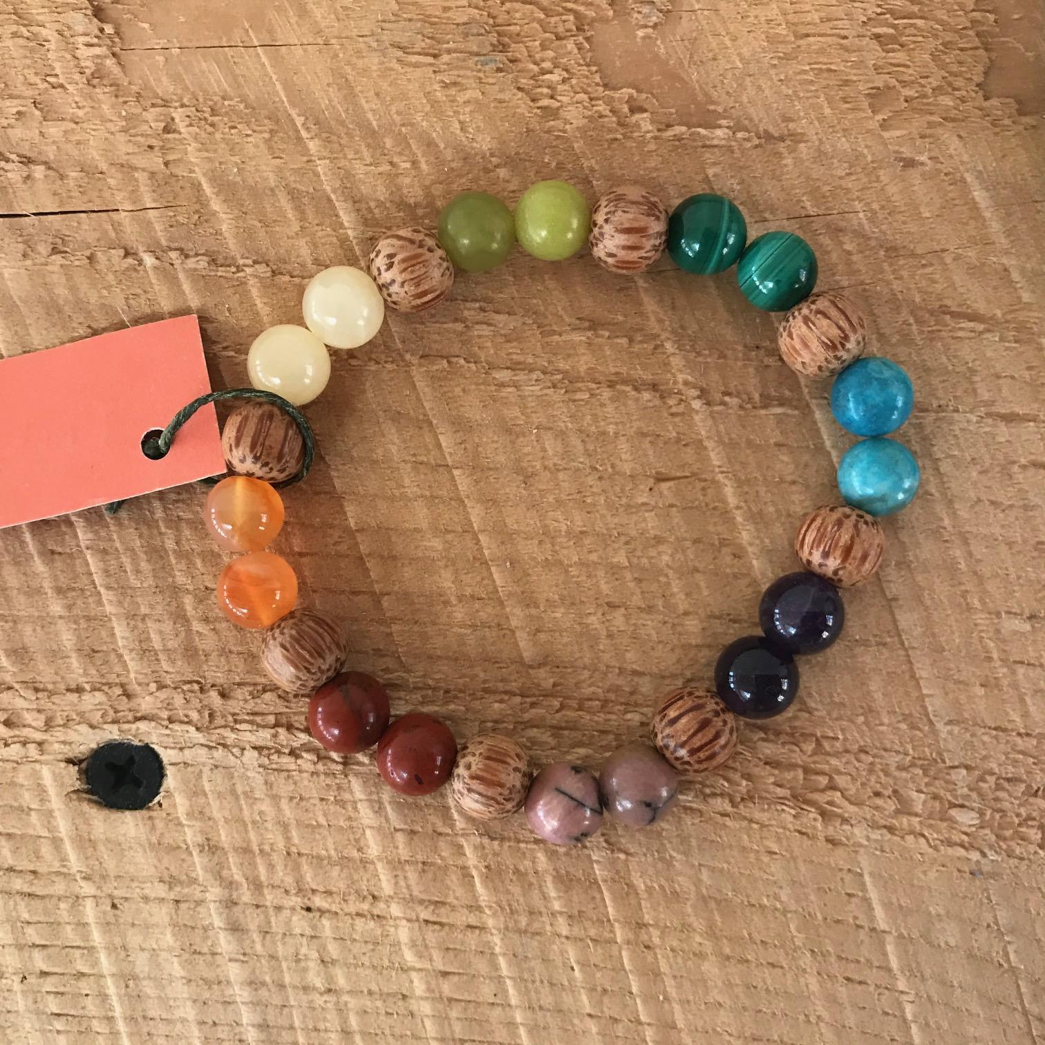 Chakra Stone + Wood Bracelet