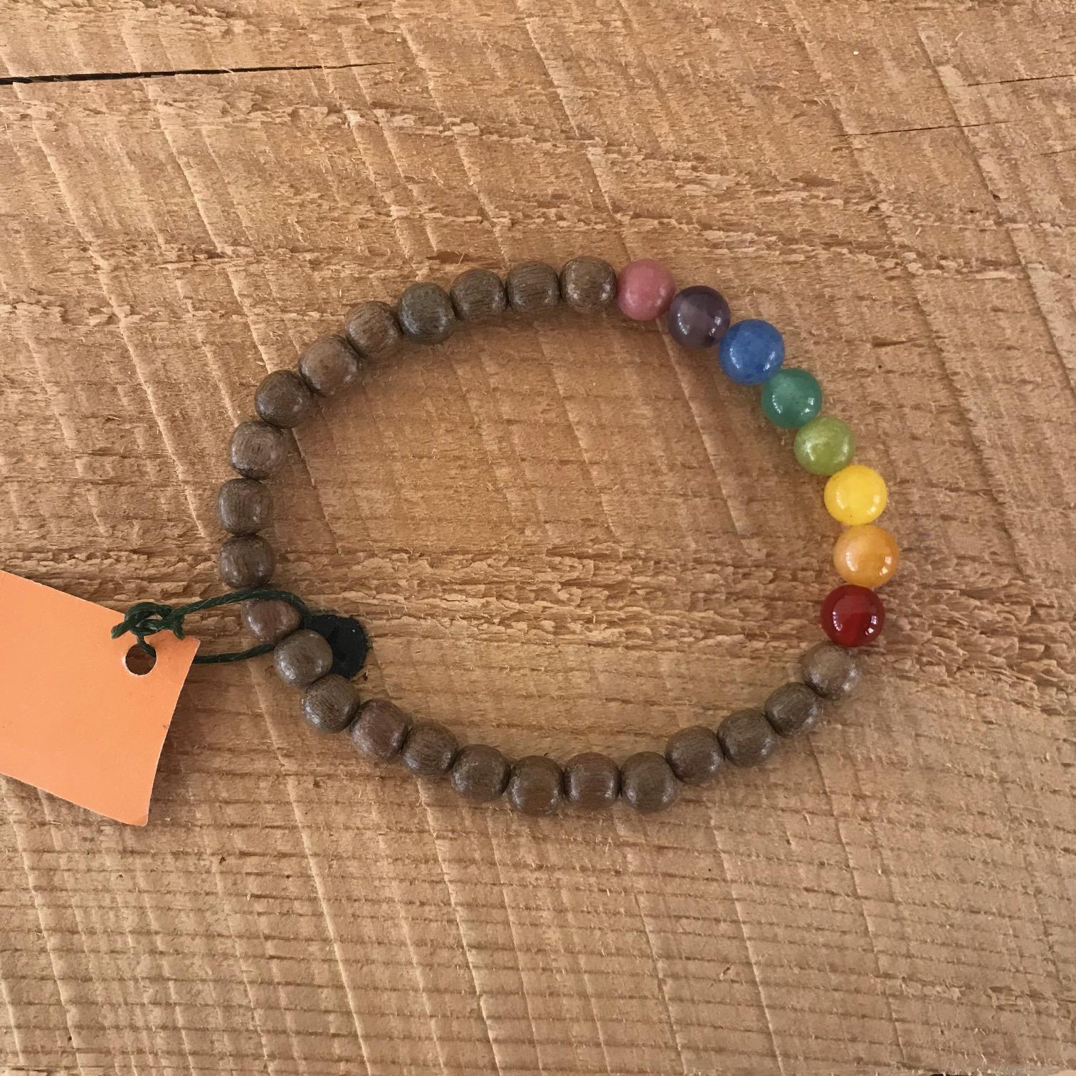 Chakra Wood + Stone Bracelete