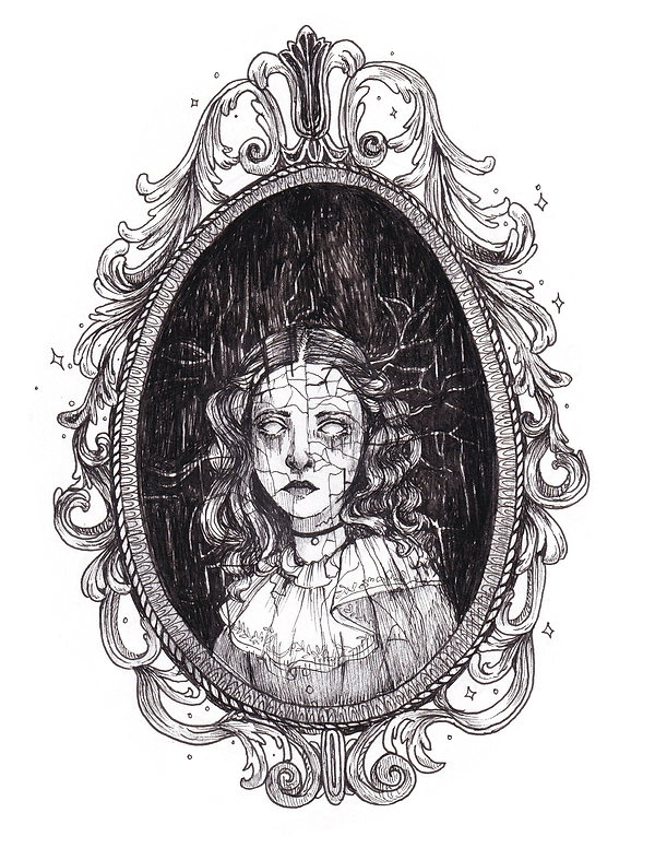 illustration of a cracked and faded portrait of a girl, with no pupils or irises