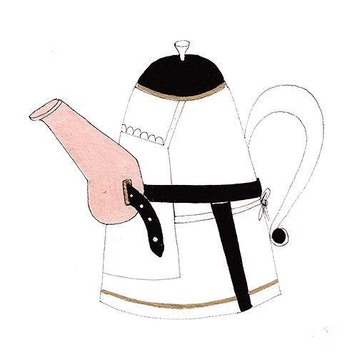 Teapot with an apron on and a strap-on spout.