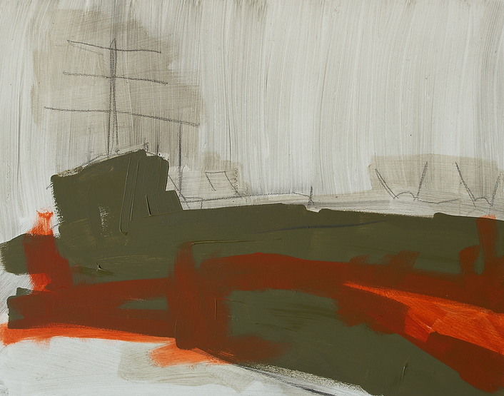 Bold line painting of the outlines of a warship. Colors are tan, olive, and bright crimson orange/red