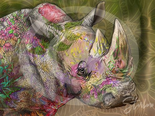 White Rhino - Illustrated - 11x14