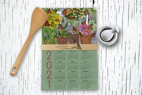 Hand-drawn Monarch Garden Kitchen Towel Calendar
