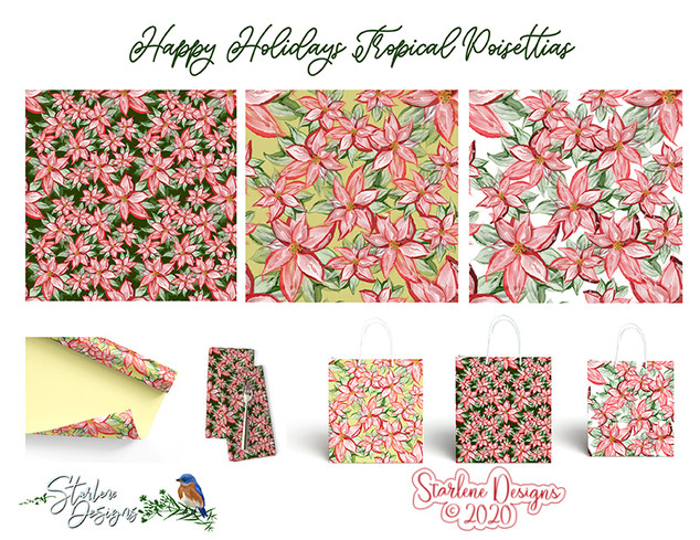 Holiday Tropical Poinsettia Pattern